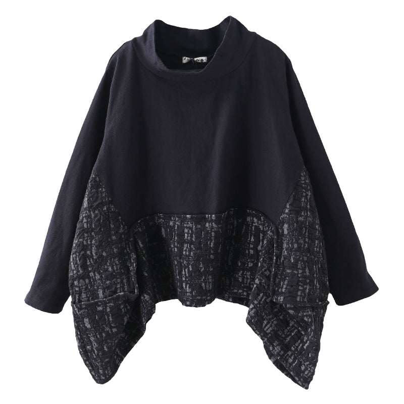 Buykud Literary Irregular Spliced Half Turtleneck Blouse