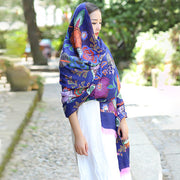 Buykud Casual Printed Tassel Multi-function Sunscreen Scarf