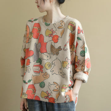 Buykud Loose O-neck Cartoon Printed Casual Sweater