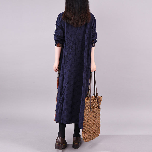 Buykud Plaid And Floral Print Casual Loose Dress
