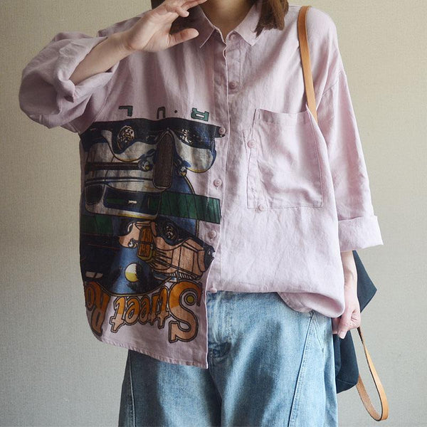 Casual Cotton Linen Print Long Sleeve Blouse
