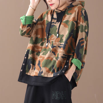 Buykud Autumn New Camouflage Spliced Loose Hoodie