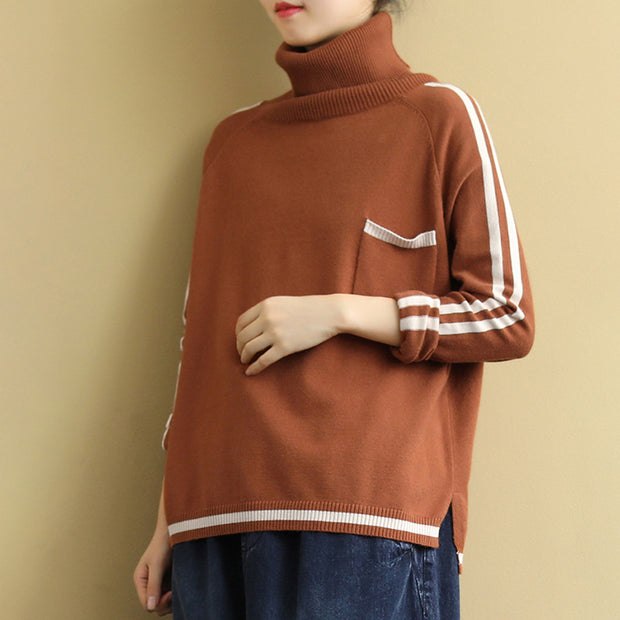 Buykud Striped Single Pocket Casual Comfortable Sweater