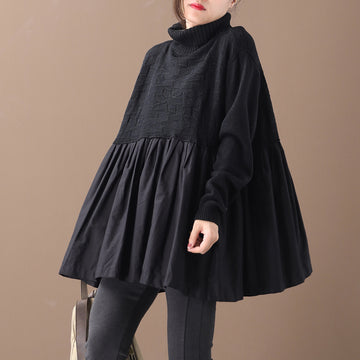 Buykud Pleated Spliced Solid Color Pullover Blouse