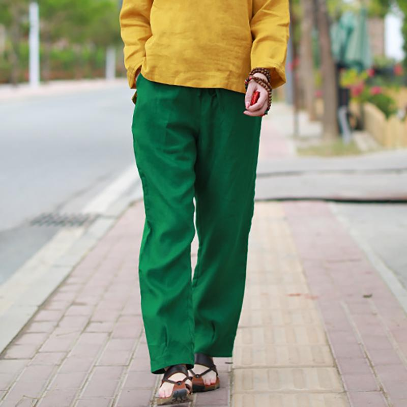 Buykud Linen Hand-Made  Solid Plus Size Pants