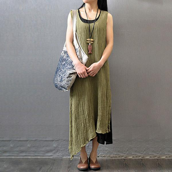 Casual Summer Women Wrinkled Sleeveless Dress