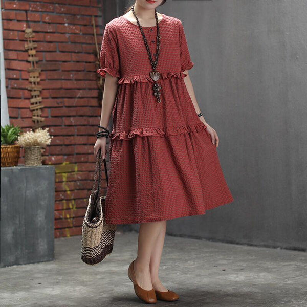 Agaric Lace Plaid Casual Fashion Dress