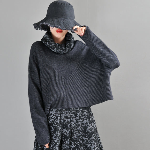 Buykud Jacquard Neckline Winter Solid Color Turtleneck Sweater