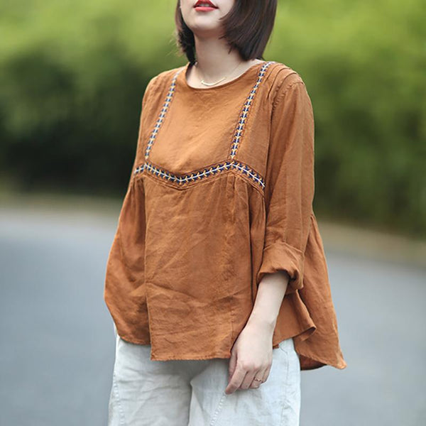 Casual Loose Embroidery Linen Women T-Shirt