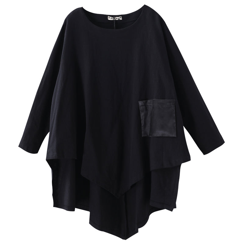 Buykud Patchwork Pocket Irregular Hem Casual Blouse