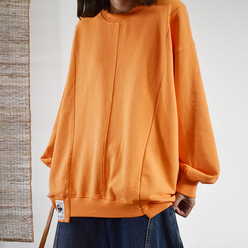 Buykud Casual Pure Color Loose Long Sleeve Sweatshirt