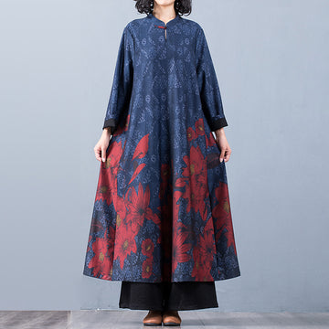 Buykud Floral Printed Casual Retro Soft Silky Dress