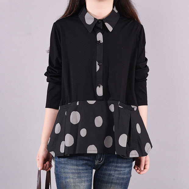 Buykud Dot Stitching Casual Loose Long-sleeved Blouse