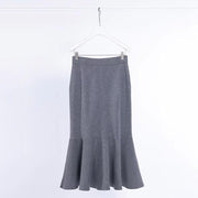Elastic Waist Ruffles Winter Calf Length Skirt