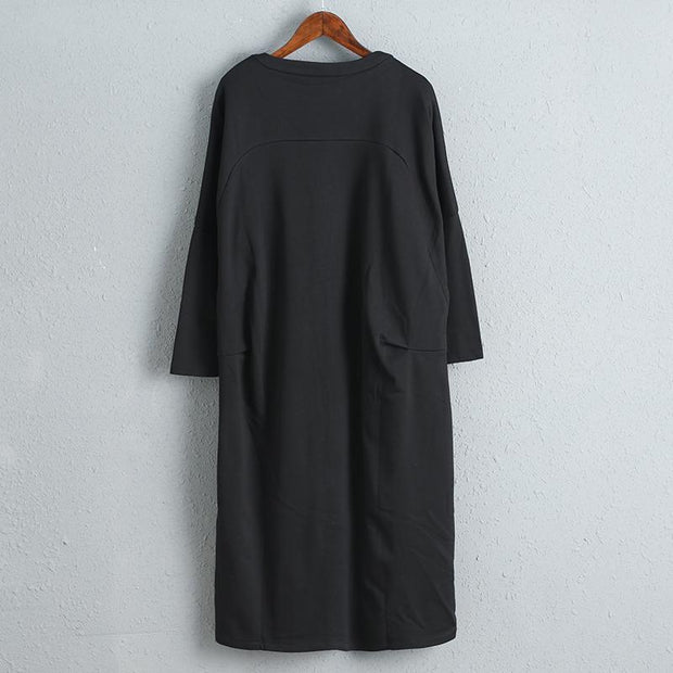 Black Women Cotton Dress Three Quarter Sleeve Fashion Dress
