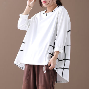 Buykud Literary Line Plaid Long-sleeve Loose Blouse