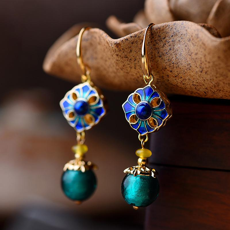 Ethnic Handmade Glaze Cloisonne Quality Drop Earrings