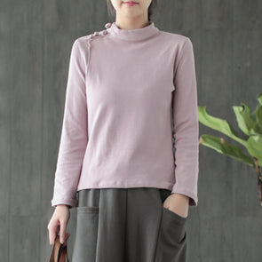 Cotton Solid Turtleneck Chinese Button Women Top