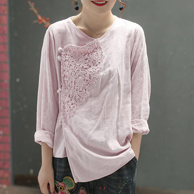 Chinese Style Solid Women Crochet Top