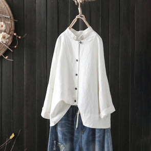 Women Autumn Long Sleeve Shirt Linen High-low Top