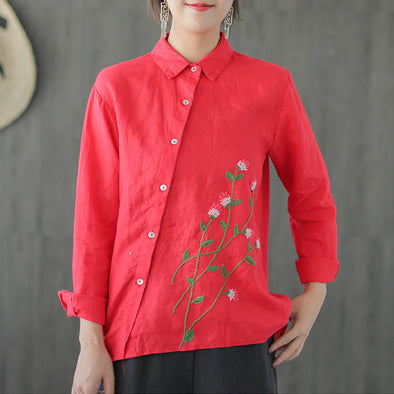 Oblique Placket Floral Embroidery Women Casual Shirt