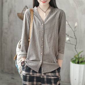 V-neck Women Stripe Office Lady Fitting Shirt