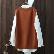 Round Neck Twist Women Casual Sleeveless Sweater