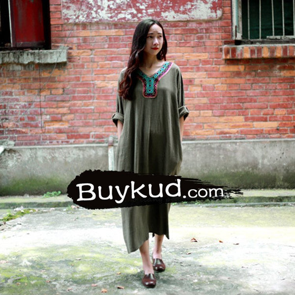 Women  summer linen vintage embroidered loose gown dress - Buykud
