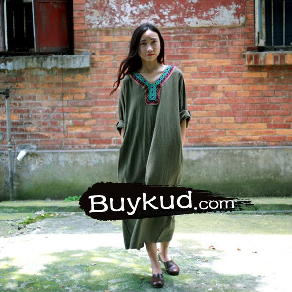 Gown - Women  Summer Linen Vintage Embriodery Loose Gown