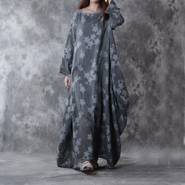 Gray cotton linen loose fitting dress - Buykud