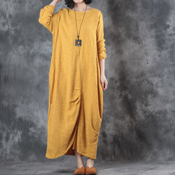 Vintage Long Sleeve Loose Round Neck Yellow Dress - Buykud
