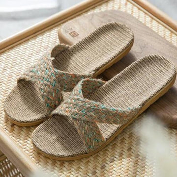 Women Multi-color Linen Indoor/Outdoor Woven Slipper