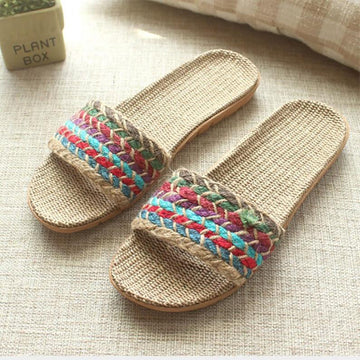 Women Multi-color Linen  Indoor/Outdoor Straw Slipper