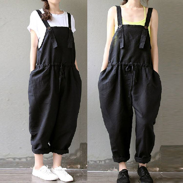 Women Casual Black Loose Cotton Linen Drawstring Jumpsuits - Buykud