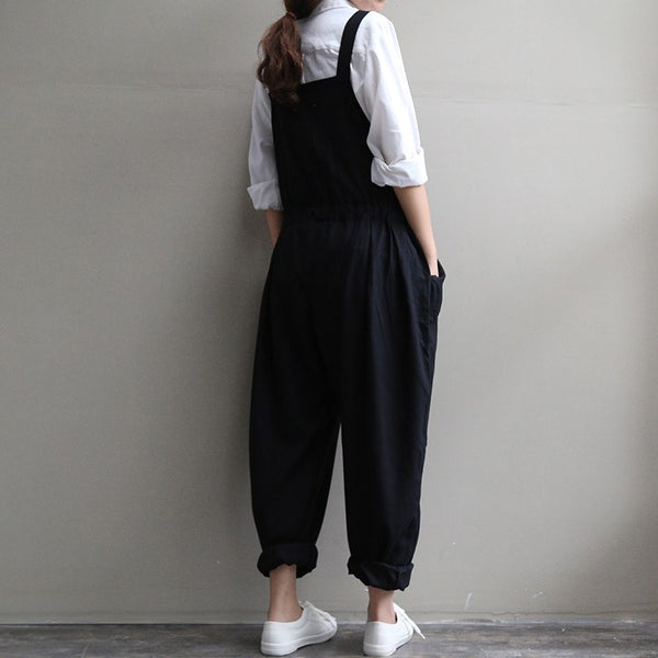 Jumpsuits - Women Casual Black Loose Cotton Linen Drawstring Jumpsuits With Pockets Pants