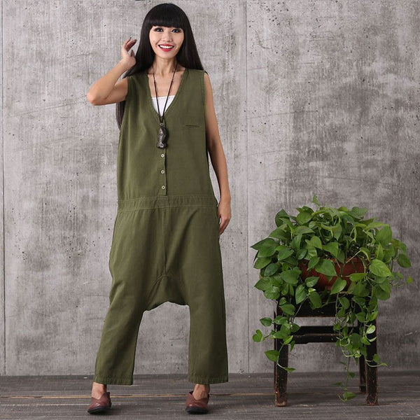 Jumpsuits - Women Summer Sleeveless Loose Cotton Linen Jumpsuits