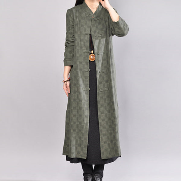 Casual Stand Collar Single Breasted Lattice Dark Green Coat - Buykud