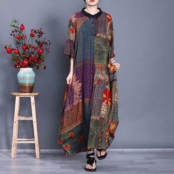 Printed Rayon Stand Collar Three Quater Sleeve Autumn Loose Dress
