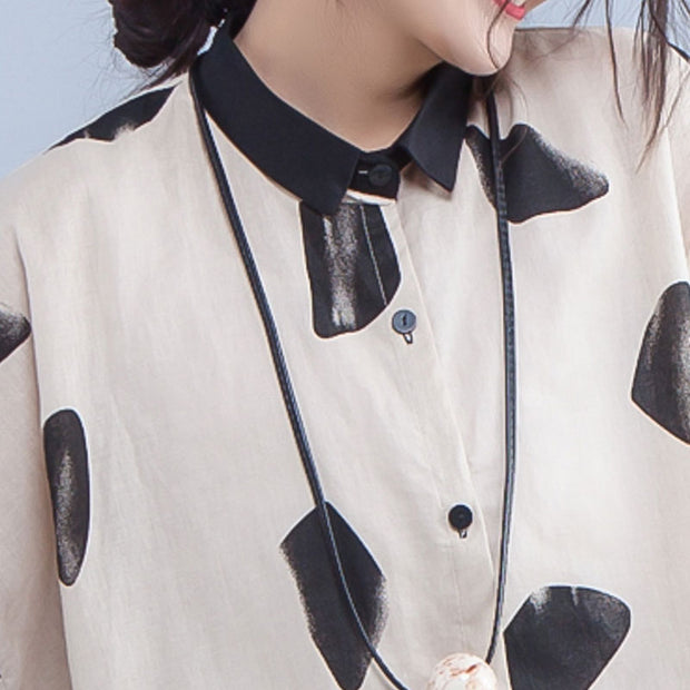 Spring Polo Collar Single Breasted Printed White Shirt - Buykud