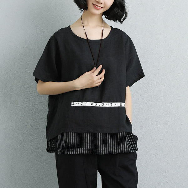 Women Summer Short Sleeve Black Casual Fake Two-piece Tops