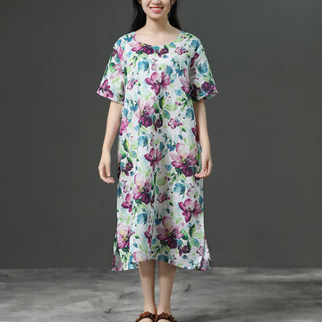 Short Sleeve Casual Loose Flower Linen Dress
