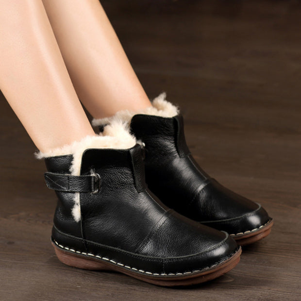 Winter Wool Flat Heel Women Soft  Boots
