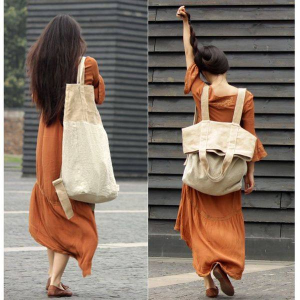 Large canvas-linen backpack-shoulder bag - Buykud