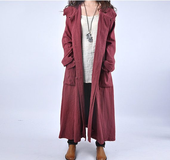 linen plus size long coat - Buykud