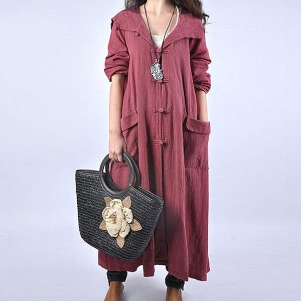 linen plus size long coat