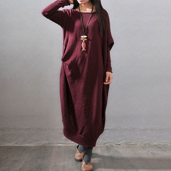 Long Sleeve Sweater Dress, 100% Cotton-Size US 6~10, EU 36~40, UK 8~12 - Buykud