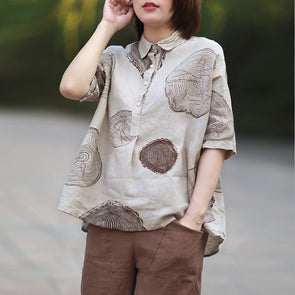 Women Casual Linen Print Turn-down Collar Shirt