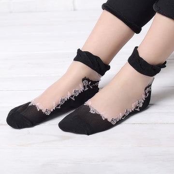 Solid Color Stitching Transparent Women Socks (5 pairs)