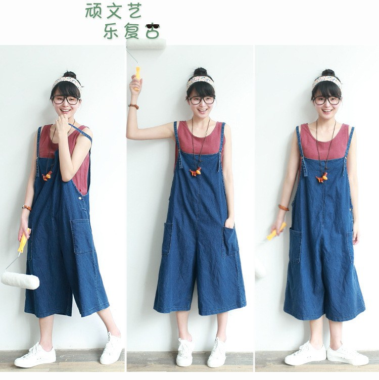 Women cotton casual Bib pants - Buykud