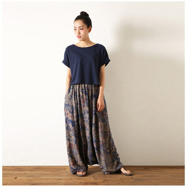 Women cotton linen vintage loose pants - Buykud